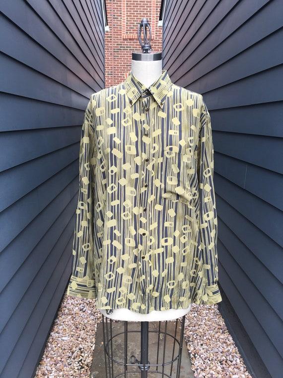 1970s Gerlin Italian Silk Shirt // Vintage Silk Sh