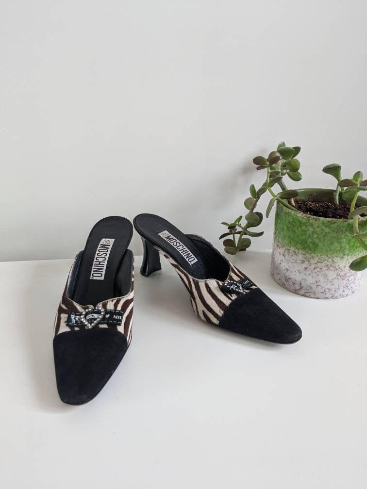 PRICE REDUCED Vintage Moschino Zebra Pony Hair Mules  Moschino Heels  Pony hair shoes  Vintage mules