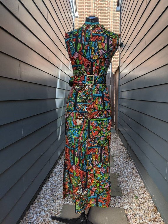 1960s-70s Stain Glass Printed Dress with Belt// Vi