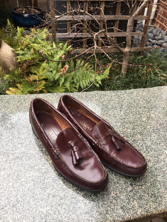 Vintage leather loafers with toggles // Brown Leat
