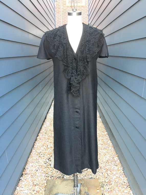 1960s-70s Givenchy Linen Shirt Dress with Lace Col