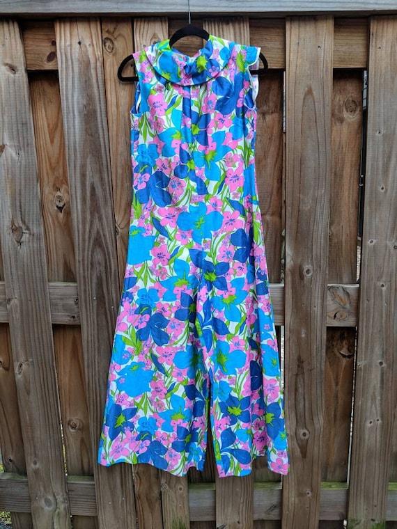 1960s-70s Wide leg jumpsuit // Vintage Jumpsuit //