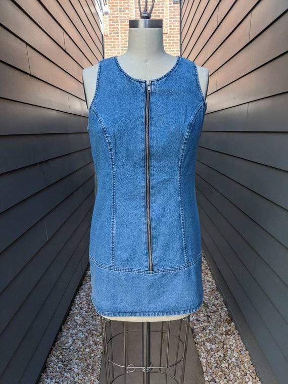 Vintage Guess Zip front dress // Vintage mini dres