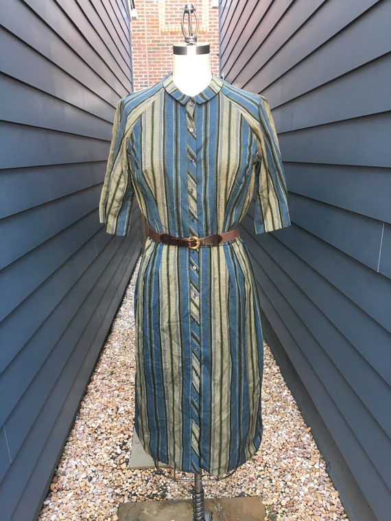 Vintage 1960s Striped Shirt Dress with belt // 196