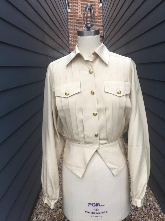 Vintage Argenti Silk Blouse // Military Blouse //
