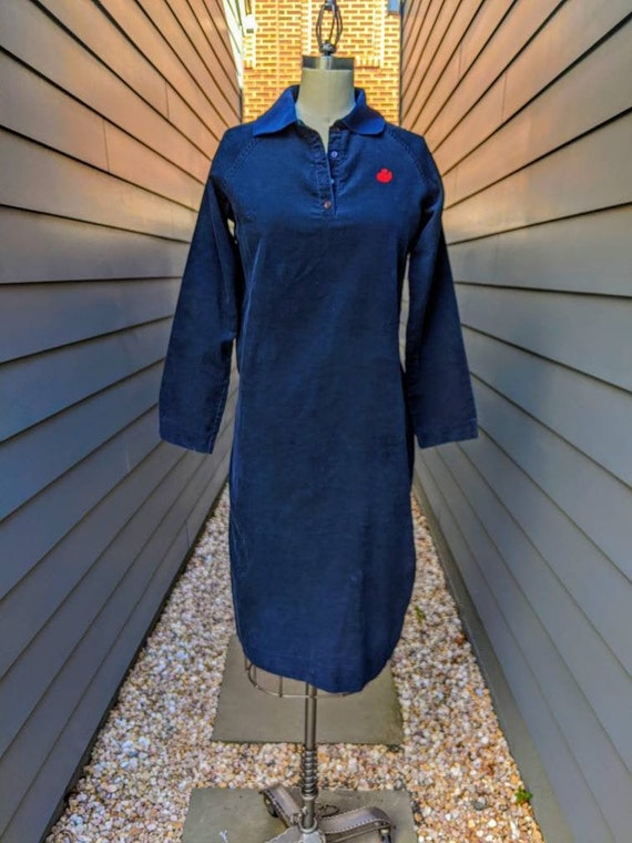 1970s-80s Gloria Vanderbilt Corduroy Shirt Dress /