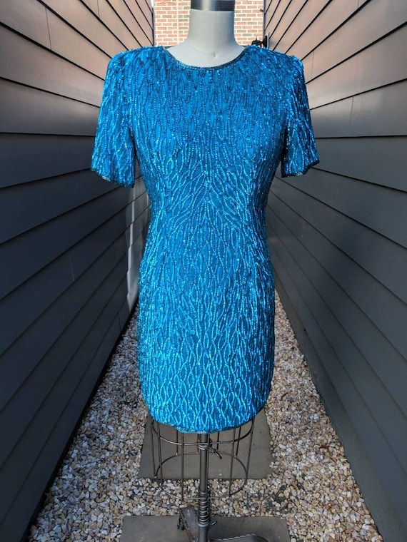 Vintage Sequin Cocktail Dress // Blue Sequin Dress