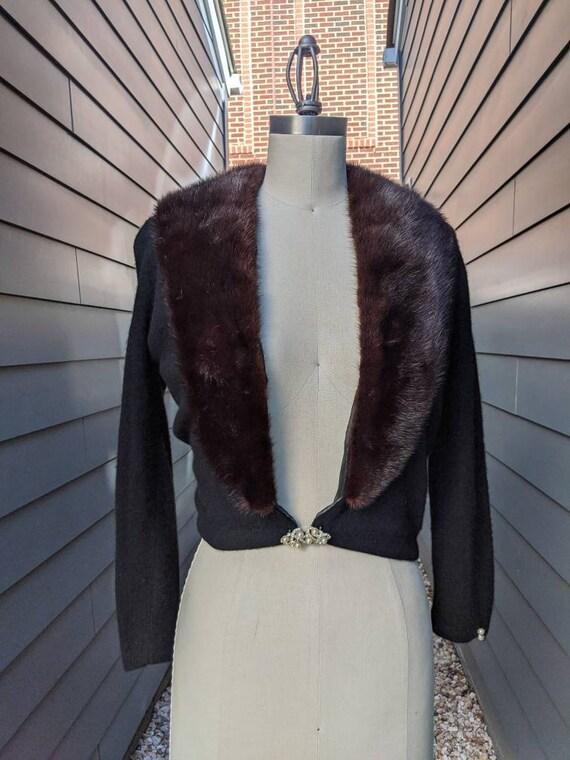 1950s-60s Fur Collar Cashmere Cardigan // Vintage