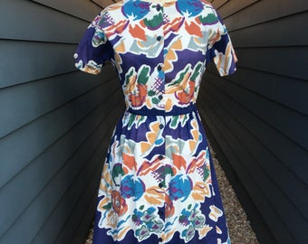 Vintage Abstract Dress // vintage dress // vintage handmade dress // floral dress