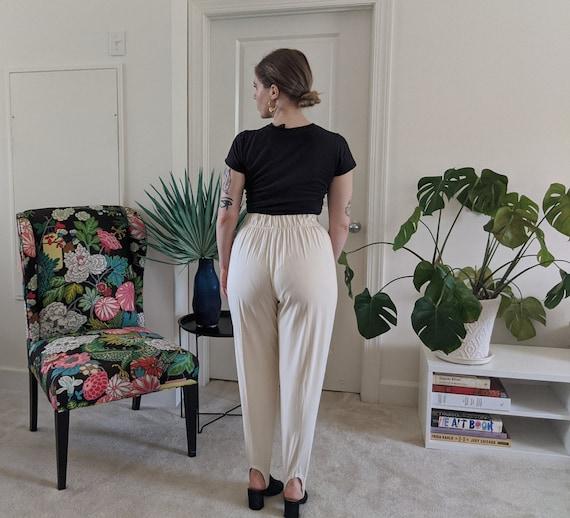 Vintage Knit White Stirrup Pants // Vintage White… - image 4