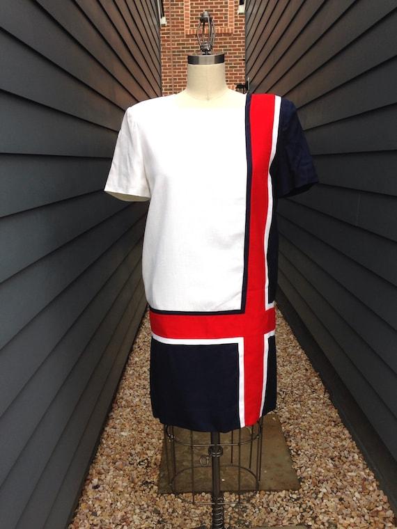 Vintage Color blocked Shift Dress // Vintage Cotto