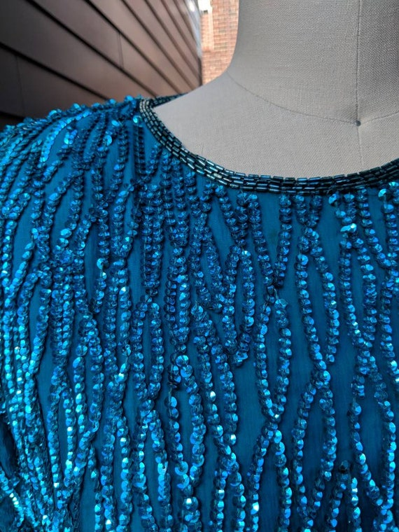 Vintage Sequin Cocktail Dress // Blue Sequin Dres… - image 3
