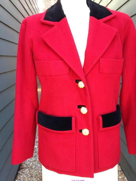 Vintage Yves Saint Laurent Rive Gauche Red Blazer… - image 2