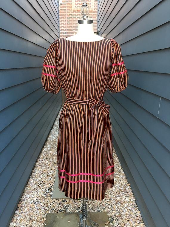 1960s-70s Liz Roberts Striped Dress with Matching
