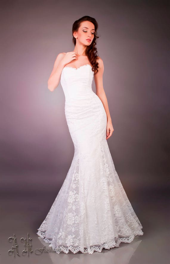 Sweetheart Mermaid Dress Strapless Fitted Shipping Bridal Lace Wedding Dress Dress Wedding Dress Free Wedding xY6FFq4w