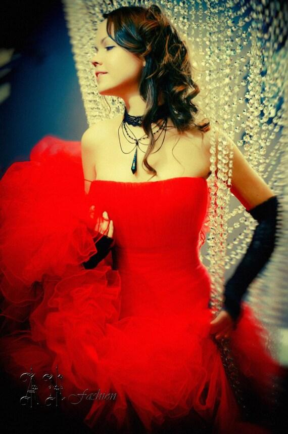 Ball Gown Red Wedding Dress. Fluffy Wedding Dress. Red Wedding   Etsy
