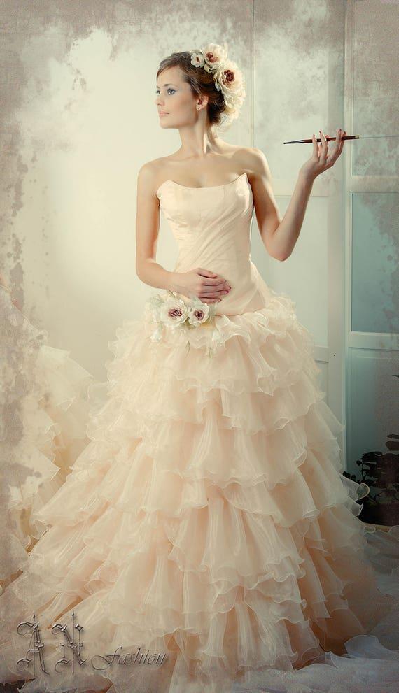 Wedding Dress. Blush Bridal Dress. Fluffy Wedding Gown. Ruffle | Etsy