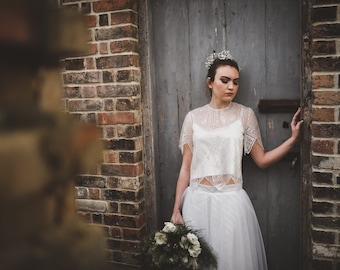 Katie Luxurious Embroidered Beaded Sequined Art Deco Wedding Top, Beautiful embroidery detail with unique zig-zag Scaloped Edges
