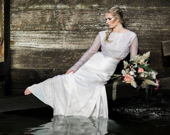 Lavender Bridal Top, Bridal separates, vintage inspired, backless wedding dress, wedding top, raschel lace, antique