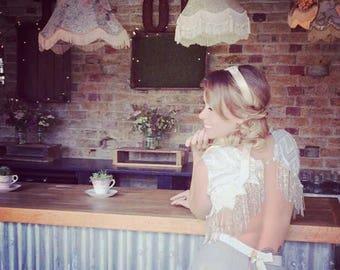 Ziggy Bridal Top, Bridal separates, Art Deco, vintage inspired glass beaded fringed top, backless wedding dress, wedding top