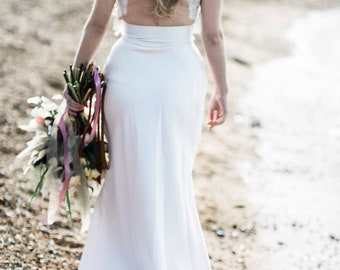 Lace Open Back Wedding Top, Beautiful Back Detail with Scaloped Edges and Capped Sleeves, Bridal Separates, Lace Top, Wedding Dress