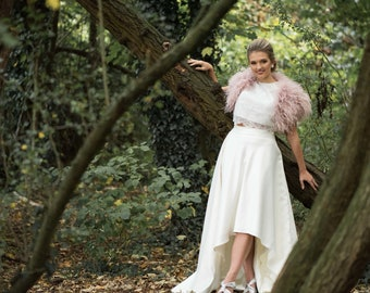 Unique Matt Satin Hi-Low Hem Wedding Skirt, Beautifully lined with silky satin, Bridal Separates, Skirt, Wedding dress, vintage, bohemian,