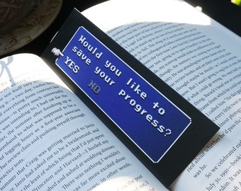 """Final Fantasy Bookmark """"Would You Like To Save Your Progress?"""" - High Quality Bookmark - Double Sided"""