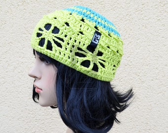 Boho Crochet cap Organic cotton greenery crochet cap, organic cotton, cotton, homemade, hand crochet, greenery,
