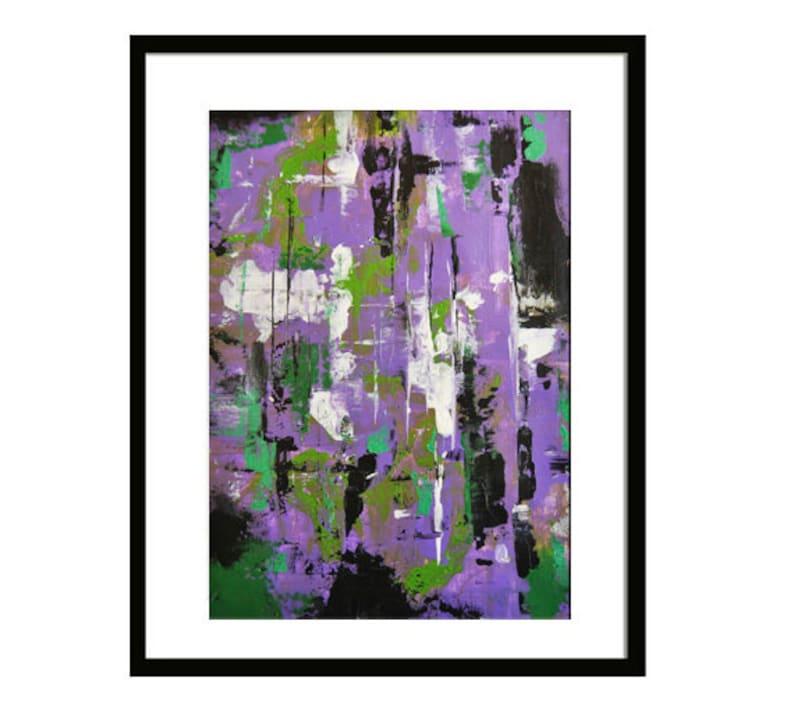 Peinture abstraite acrylique violet et vert moderne abstrait | Etsy