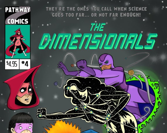 The Dimensionals #4, full-color self-published creator-owned all ages superhero comic book STEM girls