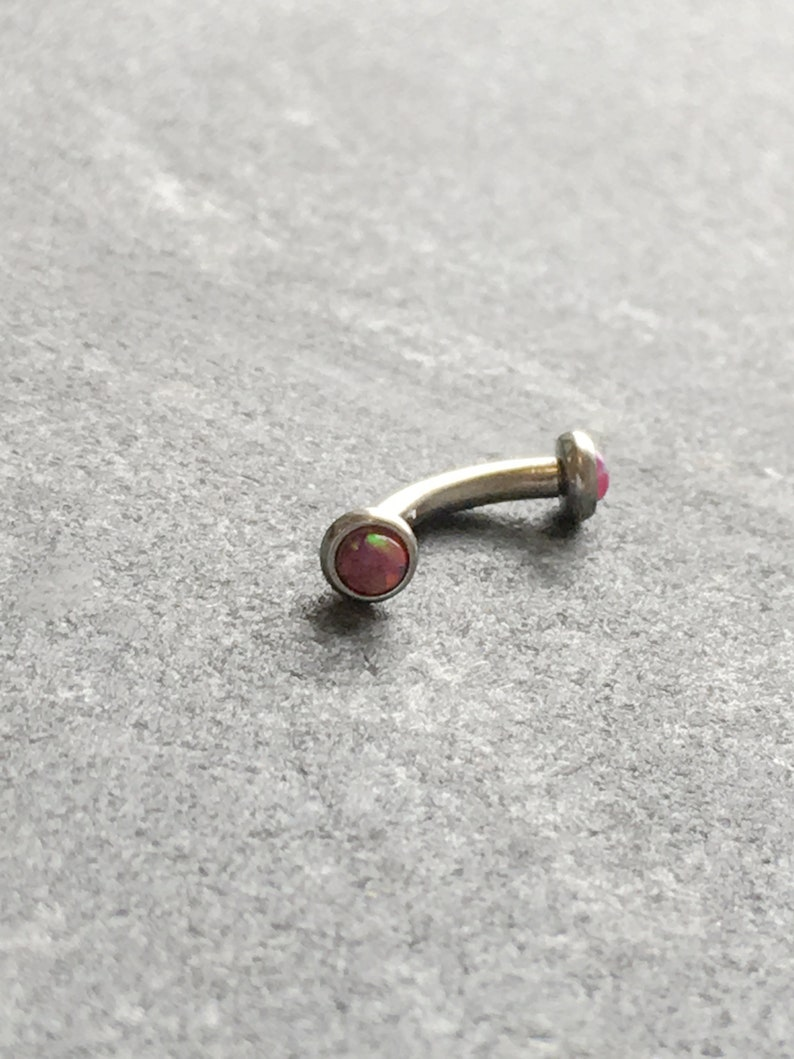 Faux Pink Opal Curved Barbell.Eyebrow Rook Conch Daith Piercing.5039