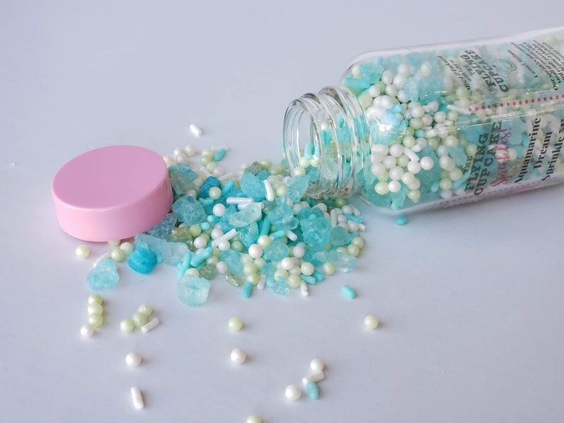 Aquamarine Dream Sprinkle Mix with aqua and gold rock candy teal jimmies mint green and white nonpareils all edible