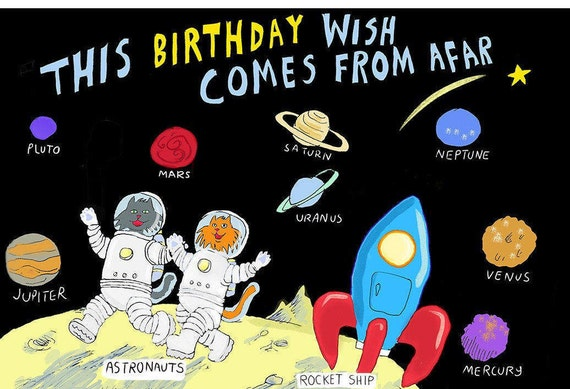 Space Birthday Card Etsy