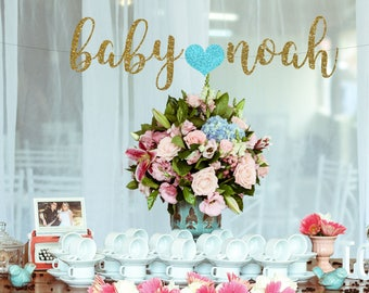 Baby Name banner, Baby Shower Banner with personalized name, Gold Glitter party decor, Baby Announcement, nursery decor, cursive banner