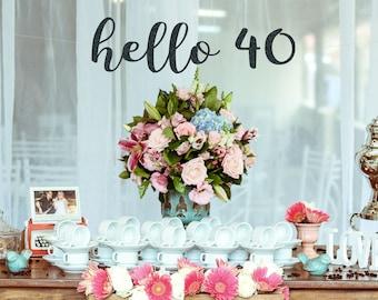 Hello 40 Birthday Banner 40th Birthday Decorations 40 and | Etsy