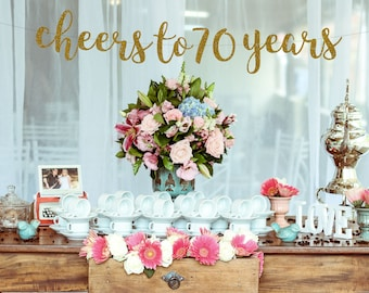Cheers To 70 Years Banner 70th Birthday Party70th Sign Decor Anniversary70th Party BannerGlitter