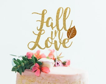 fall in love cake topper engagement cake topper fall wedding fall bridal shower fall cake topper glitter party decorations