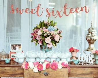 Sweet Sixteen Banner 16th Birthday Decorations Party Happy
