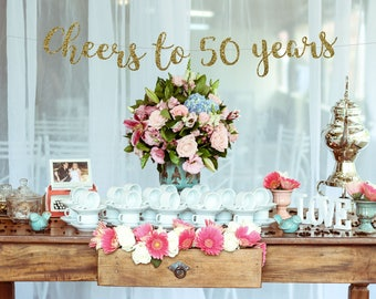 Cheers To 50 Years Banner 50th Birthday Party Anniversary Sign Decor Glitter