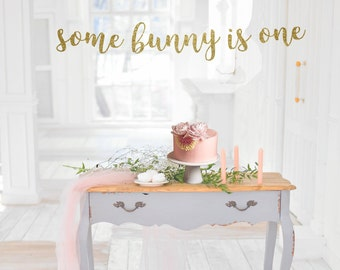 Some Bunny Is One Banner First Birthday 1 Party Decorations 1st