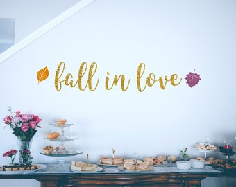 fall in love banner gold glitter party decorations fall bridal shower decorations fall banner fall in love fall wedding wedding decor