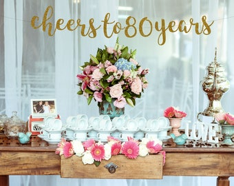 Cheers To 80 Years Banner 80th Birthday Party Anniversary Sign Decor Glitter