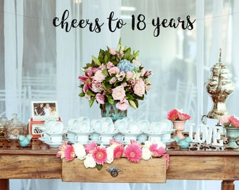 Cheers To 18 Years Banner 18th Party Decor18th Birthday Decorations18th BannerEighteen Hello Eighteen