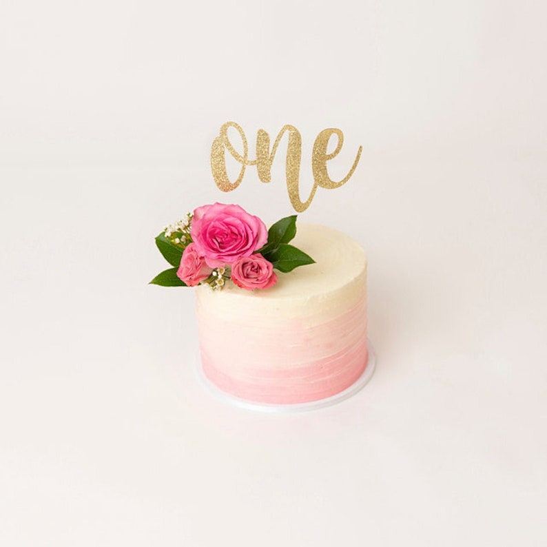 first birthday cake topper one cake topper Gold Glitter party decorations cursive topper