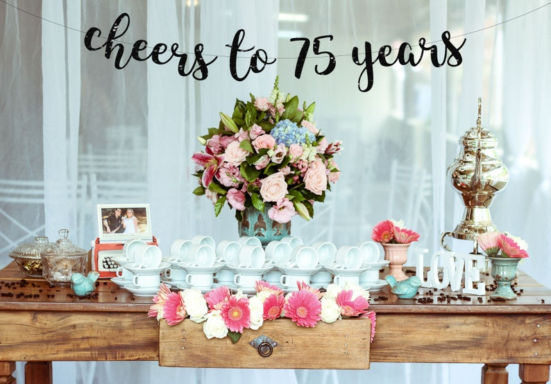 Cheers To 75 Years Banner 75th Birthday Party Etsy Rh Com