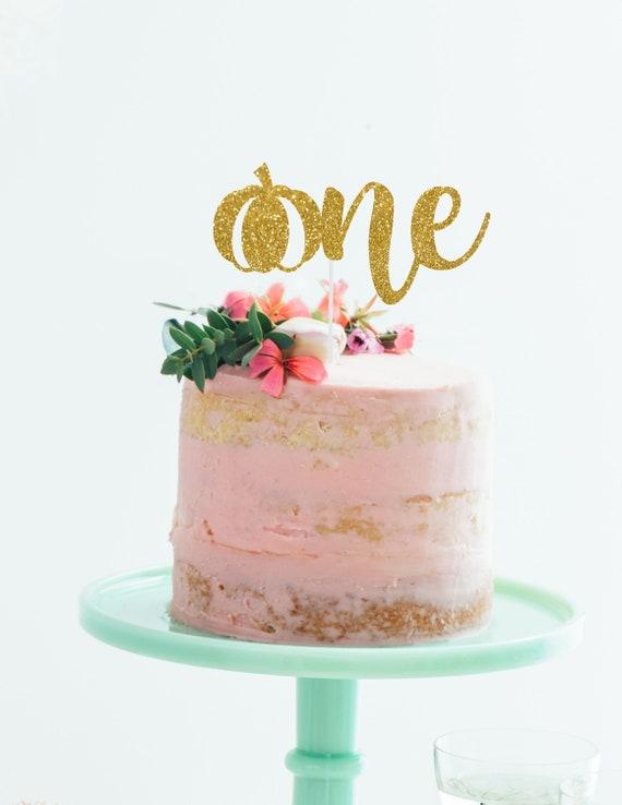 Stupendous Pumpkin Glitter One Cake Topper 1St Birthday Birthday Cake Etsy Funny Birthday Cards Online Alyptdamsfinfo
