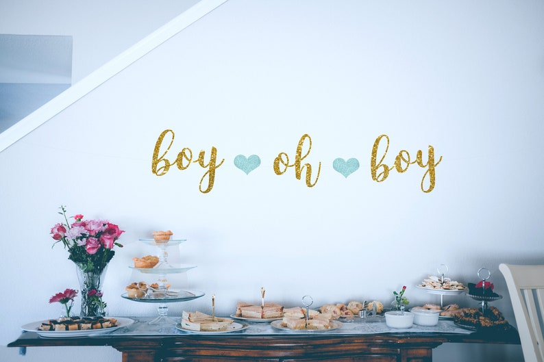 boy oh boy banner baby boy shower baby shower for boys Boy baby shower decorations gold and blue baby shower oh boy banner gold banner