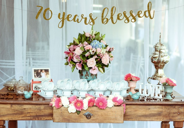 70 Years Blessed 70th Birthday Banner Happy Gold Glitter Party Decorations Loved