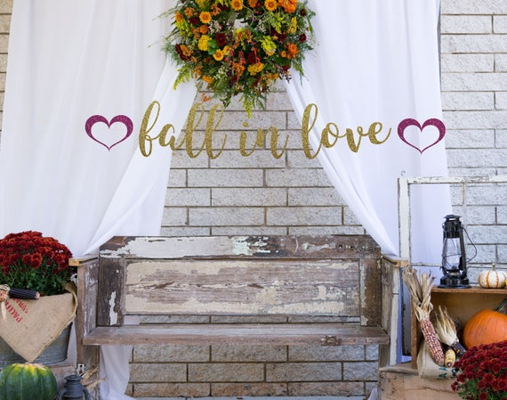 40d924038aec Fall in Love banner gold glitter party decorations fall