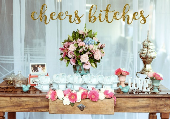 CHEERS BITCHES Bunting Banner Garland Decoration Wedding Bridal Party Flower New